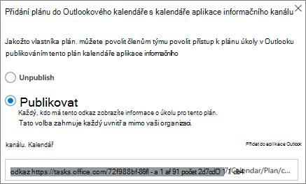 Snímek obrazovky s dialogovým oknem přidat plán do kalendáře aplikace Outlook