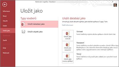 Možnosti Uložit databázi jako na obrazovce Uložit jako
