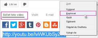 Zkopírování adresy URL