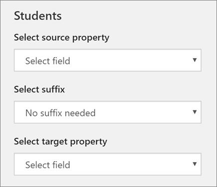 Snímek obrazovky s tři nastavení synchronizace studentů ve škole Data Sync, včetně vlastnost zdroj, přípony a vlastnost target.