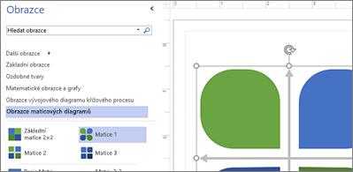Seznam dostupných obrazců v levé polovině obrázku a vybraný obrazec v pravé polovině