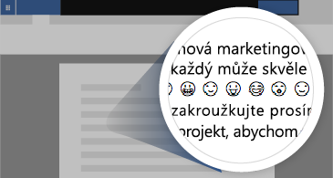 Dokument s přiblíženou oblastí ukazující několik dostupných emoji