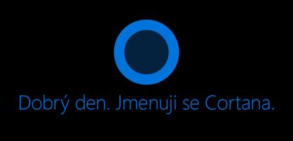 """Ikona Cortany, jak se zobrazuje na obrazovce, """"Ahoj. Pod ikonou jsem Cortanu."""
