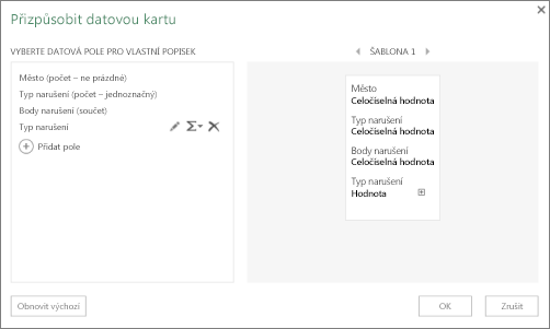 Dialogové okno Přizpůsobit datovou kartu