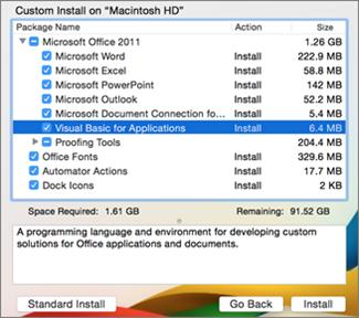 Snímek obrazovky s nabídkou Vlastní instalace