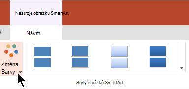 V části Nástroje obrázku SmartArt vyberte Změnit barvy a otevřete tak galerii barev.