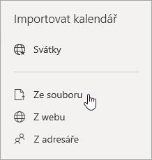 Snímek obrazovky s importovat ze souboru