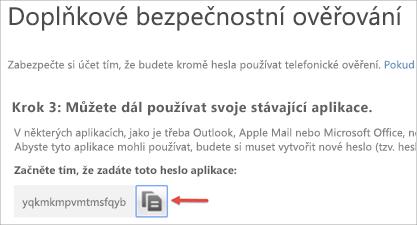 Obrázek ikony kopírování, pomocí které můžete heslo aplikace zkopírovat do schránky