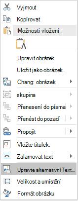 Nabídka pro úpravy alternativního textu pro obrázky ve Wordu Win32