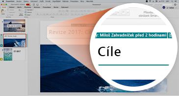 Prezentace s miniaturou snímku se zeleným zvýrazněním a přiblíženým zobrazením snímku s ukázkou změn prováděných jiným uživatelem