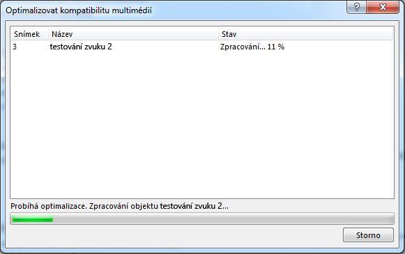Dialogové okno zpracování kompatibility