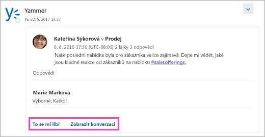 Snímek obrazovky s tlačítky akcí na kartě připojené služby