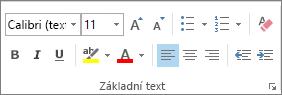 Možnosti ve skupině Základní text