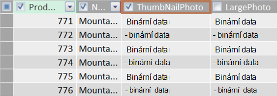 Příklad binárního sloupce miniatury