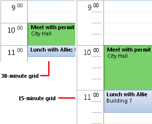 Příklad mřížky kalendáře s časovým intervalem 30 a 15 minut