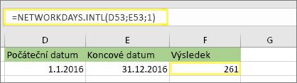 = NETWORKDAYS. INTL (D53, E53, 1) a výsledek: 261