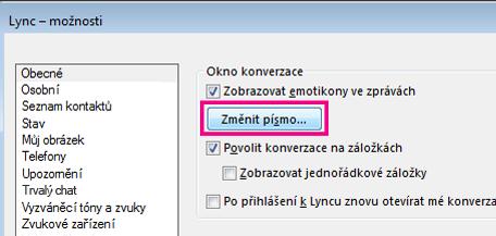 Snímek oddílu okna Obecné možnosti Lyncu s vybraným tlačítkem Změnit písmo