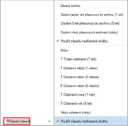 Kliknutím pravým tlačítkem myši na zprávu zobrazíte možnosti přiřazení zásad.