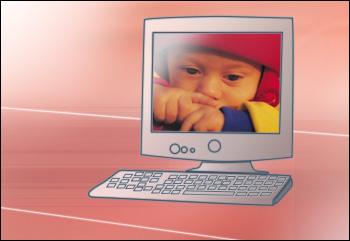 Fotografie dítěte na pozadí plochy