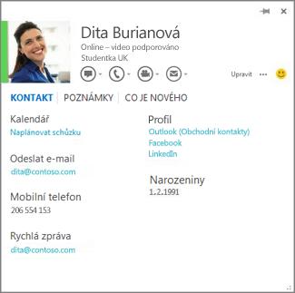 Příklad karty kontaktu, kterou můžete otevřít kliknutím na fotku autora komentáře ve Wordu