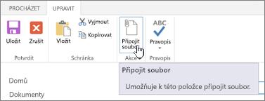 Přidání příloh kliknutím na položku položka