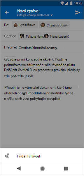 Snímek obrazovky s tlačítkem Přidat citlivost v Outlooku pro Android