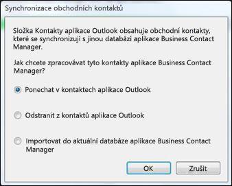 dialogové okno synchronizace obchodních kontaktů