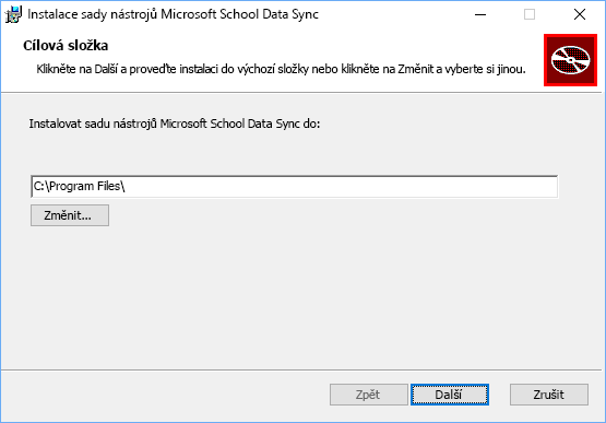Zvolte umístění instalace sady nástrojů Microsoft School Data Sync
