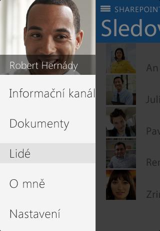 Snímek obrazovky O mně v SharePointu Newsfeed