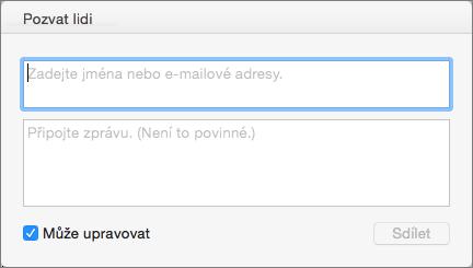 Zadání jmen ze seznamu kontaktů nebo e-mailových adres za účelem odeslání pozvánek příjemcům