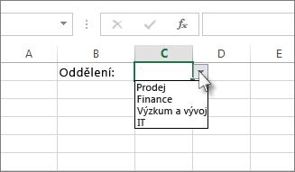 Ukázkový rozevírací seznam v Excelu
