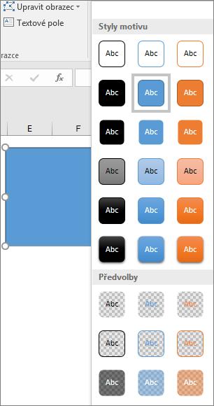 Galerie stylů obrazce zobrazující nové přednastavené styly v Excelu 2016 pro Windows