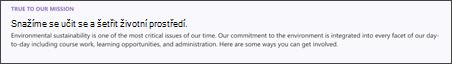 Snímek obrazovky s textem a formátováním webové části