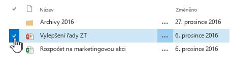 Vyberte soubor kliknutím na značku zaškrtnutí nalevo od názvu
