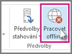 Tlačítko Pracovat offline v Outlooku 2013