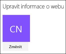 Snímek obrazovky s dialogem SharePointu pro změnu loga webu