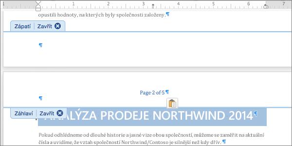 Vložte číslování stránky vyjmuté ze zápatí do záhlaví.