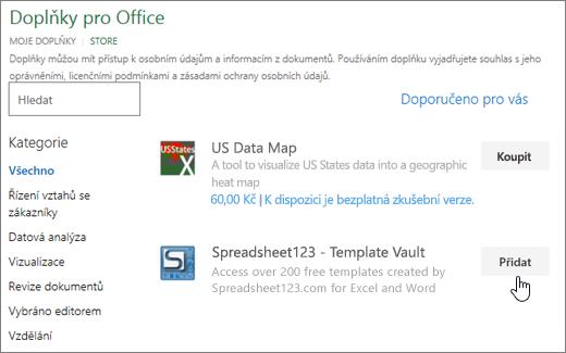 Snímek obrazovky znázorňuje doplňky Office stránku, kde můžete vybrat nebo vyhledejte doplňky aplikace Excel.