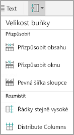 Velikost buňky Android tabulky
