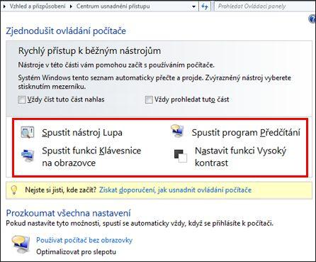 Dialog Centrum usnadnění přístupu ve Windows, kde si můžete zvolit technologie usnadnění
