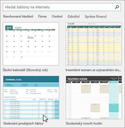 Šablony aplikace Excel