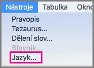 Nabídka jazykových nástrojů v Office pro Mac