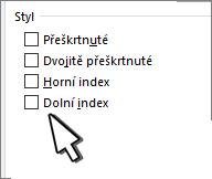 Výběr horního nebo dolního indexu
