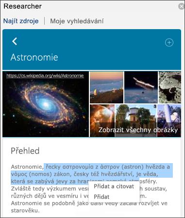 Zobrazení všech obrázků, přidání textu, přidat a citovat