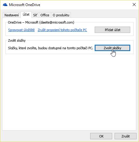 Snímek obrazovky znázorňující ukazatel myši nad tlačítkem Zvolit složky na kartě Účet vnabídce nastavení OneDrivu.