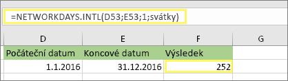= NETWORKDAYS. INTL (D53, E53, 1, MyHolidays) a výsledek: 252
