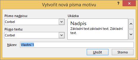 Dialogové okno Vlastní písem v aplikaci powerpoint