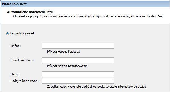 Přidání jména a e-mailové adresy v Outloou 2010