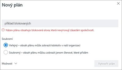 Snímek obrazovky: Naming zásady skupiny – vytvoření nového plánu blokované příklad