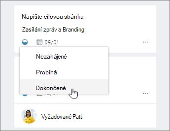 Klikněte na ikonu průběhu a změnit stav